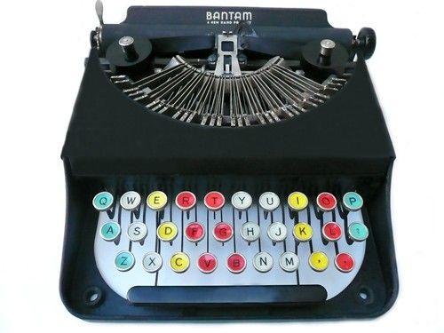THATCHER WINE'S PICK - 1930 Antique Remington Rand Bantam colored key Typewriter  -$665.