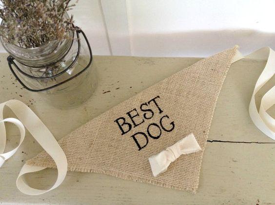 Ivory Best Dog Boy Bowtie Dog Collar Bandana Rustic Burlap Wedding Photo Prop on Etsy, $20.00