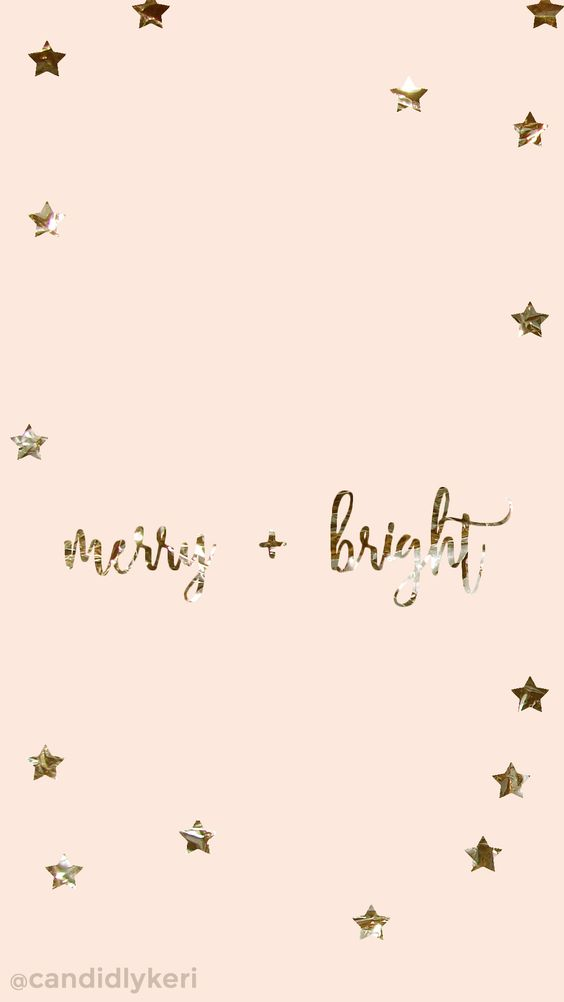 Merry and Bright gold foil pink stars background wallpaper you can download for free on the blog! For any device; mobile, desktop, iphone, android!  FREE CHRISTMAS WALLPAPER DOWNLOAD