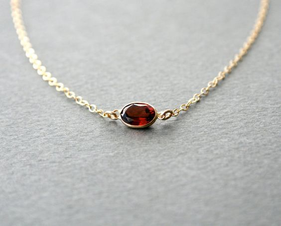 Gold Oval Garnet Necklace  Ready to Ship January door StudioGoods, $39.00