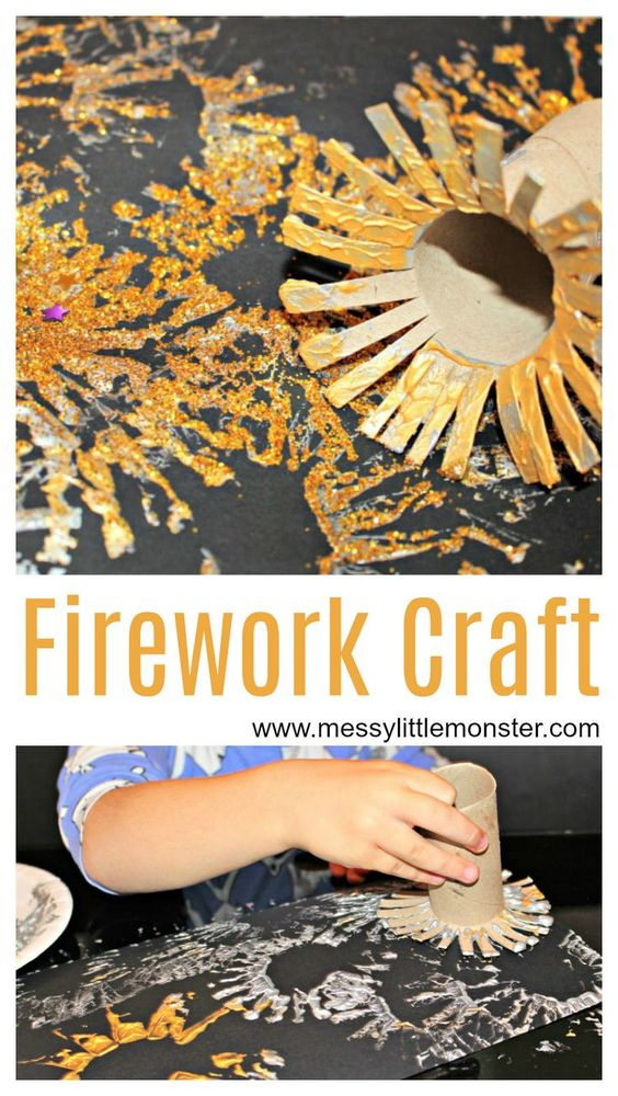 Firework craft for toddlers, preschoolers and older kids. use a fun painting technique to make a firework painting. This fireworks craft is perfect as a bonfire craft, new years eve craft or celebration craft for kids.
