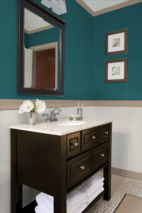 Ideas for the salon teal looks good on all skin tones so for Powder room color ideas