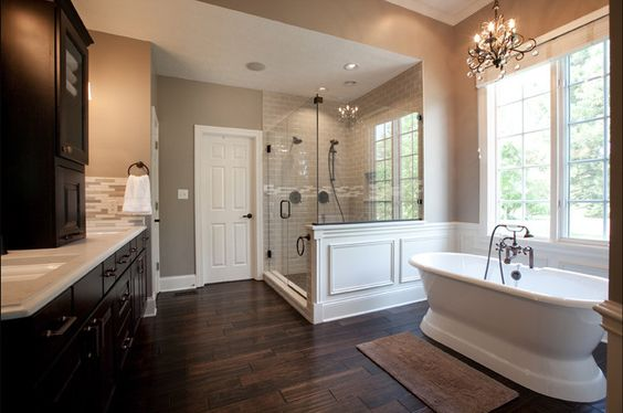 Beautiful Bathroom Ideas From Pearl Baths: Neutral Walls And Accents, Dark Cabinets & Luxurious Hand