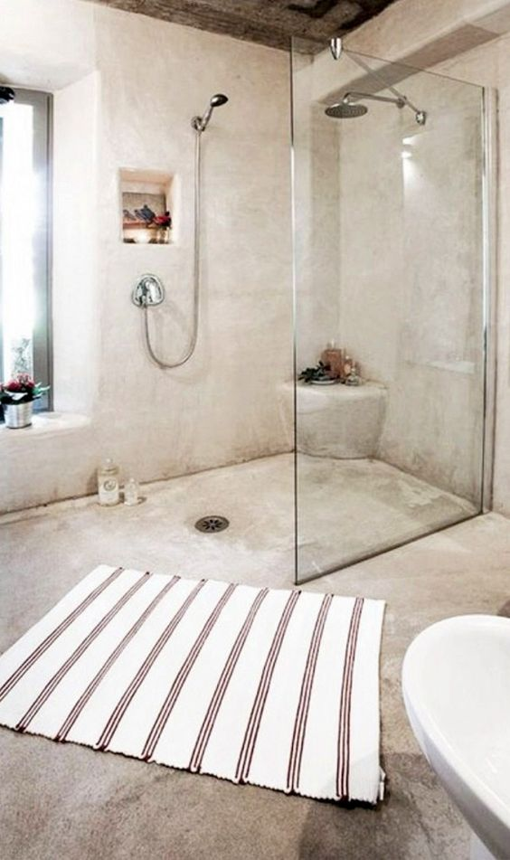 Rustic bathrooms polished concrete and rustic on pinterest for Open shower bathroom