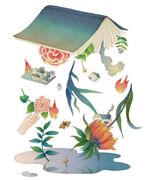 Surge la vida entre las páginas del libro (ilustración de Whooli Chen)