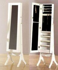 Joyeros de Madera de Pie con Espejo Vestidor : Modelo FINE Blanco