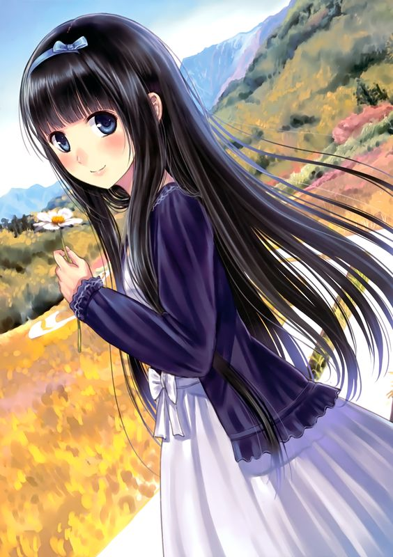 anime girl with pretty scenery: