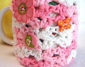 100% cotton Pink/White Mug Hug cozy with coaster bottom and decorative buttons