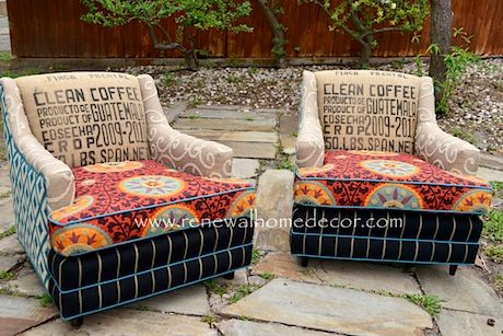 Funky vintage chairs reupholstered with a eclectic assortment of salvaged, vintage and repurposed fabrics.
