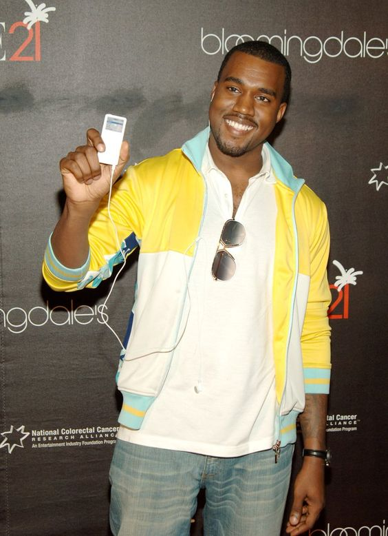 Pin for Later: Remember When All These Celebrities Loved Their Sidekicks?  Rare smiling Kanye West sighting. In 2005. Thanks to iPod.