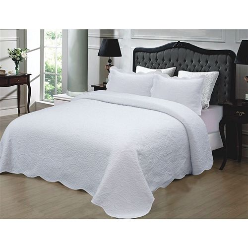 Full Queen 3 Piece White Quilted Cotton Bedspread With Shams Hot Home Goods Bed Spreads Quilted Bedspreads Coverlet Bedding