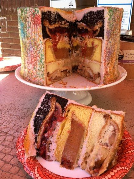 it consists of 3 stacked layers – traditionally with a cherry pie baked into a chocolate cake, a pumpkin pie in a spice cake, and an apple pie in a yellow cake then covered in frosting.