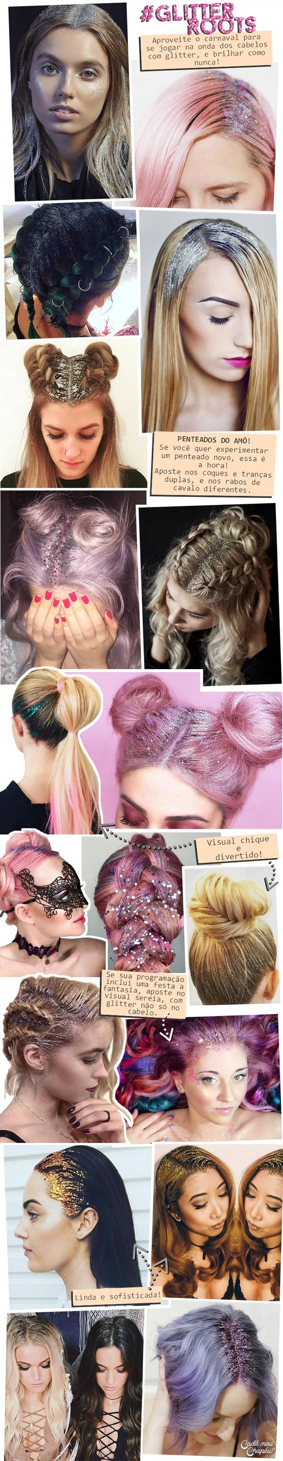 Glitter Roots | Glitter hair | Carnaval | http://cademeuchapeu.com: