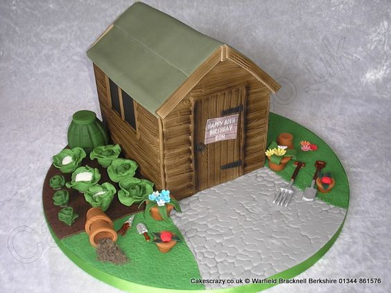 Garden Shed Cake. Garden shed novelty cake. The cake has been decorated with paraphernalia usually found around the garden shed or allotment. In ideal cake for lovers of gardening or as a retirement celebration