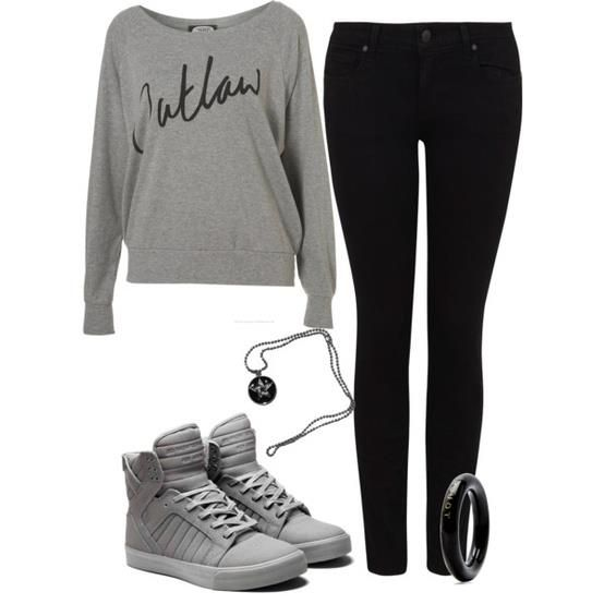 #fashion #outfit in black and grey