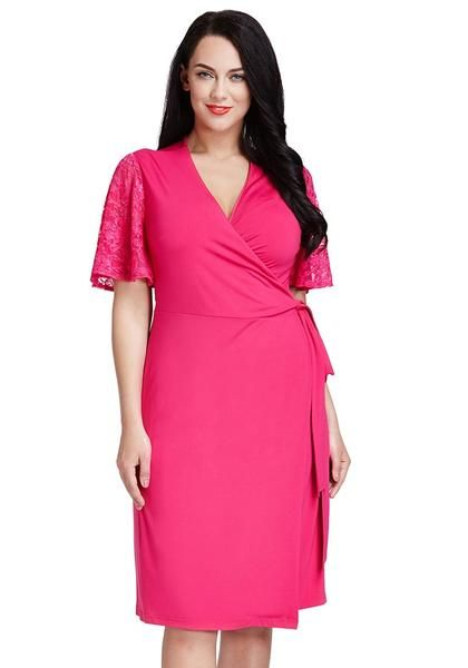 Plus Size Fashion // Look absolutely youthful as ever when you wear this hot pink plunge wrap-style dress. It comes in a wrap style design with bow knot on the side, as well as a plunge neckline and lace short sleeves.