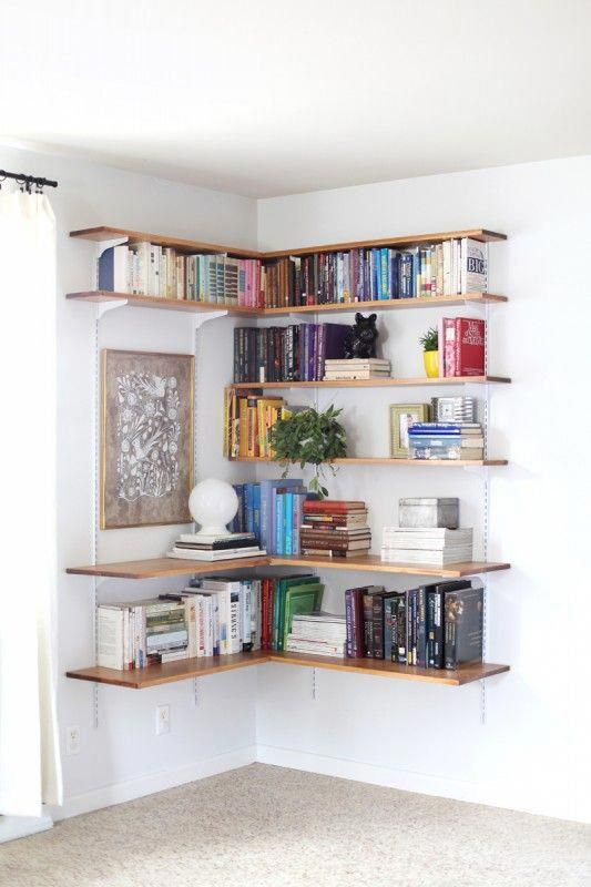 Great Use Of Inexpensive Track Shelving Use The Brackets And Tracks But Swap In Wood Shel In 2020 Apartment Therapy Small Spaces Shelves In Bedroom Small Space Living