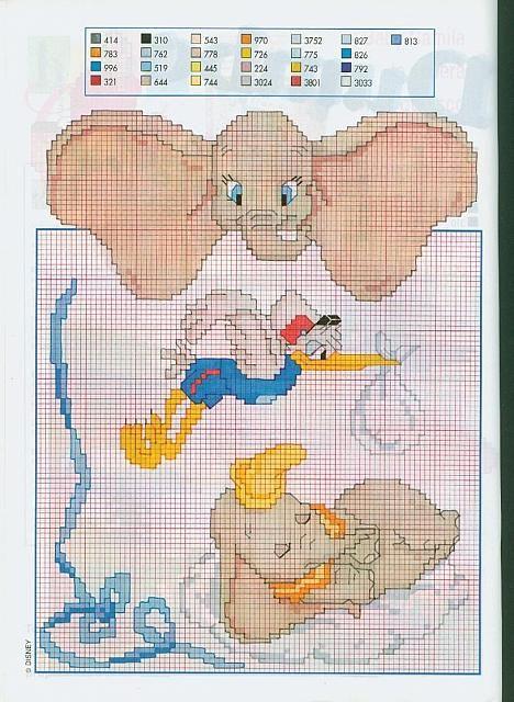 Disney dumbo cicogna punto croce for Disney punto croce schemi gratis