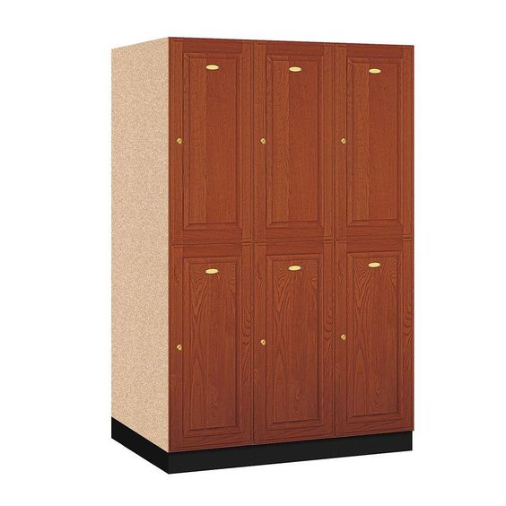 12000 Series Double Tier 24 in. D 6-Compartments Solid Oak Executive Wood Locker in Medium Oak, Medium Brown Wood