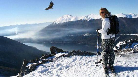 Cerro Castor, skier and condor