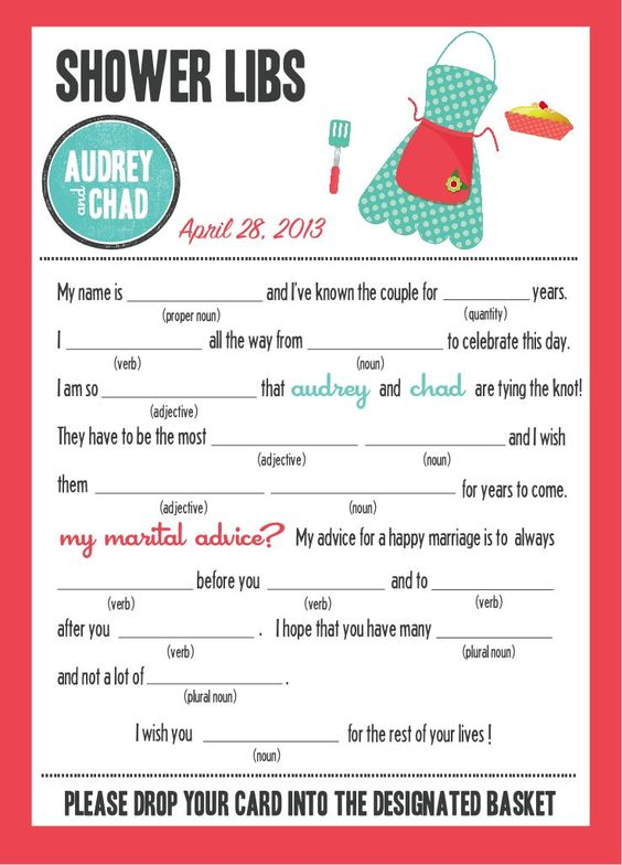 guest libs wedding edition template - mad libs bridal shower edition kitchen party guest
