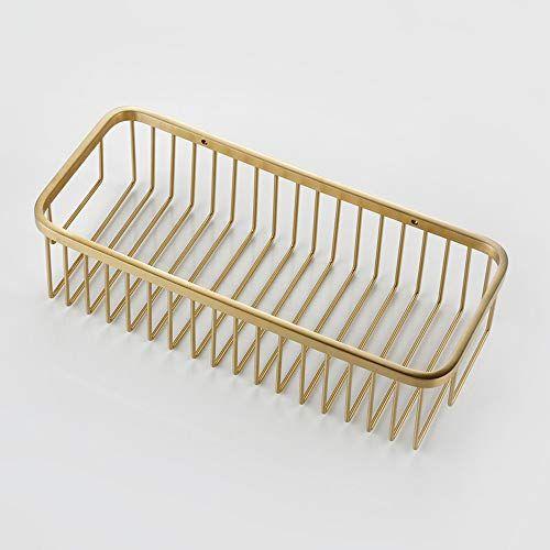 Lifxx Luxury Storage Basket Durable Bathroom Shelf 304 Stainless Steel Organiser Holder Gold Rack Wall Mounted Showe Shower Caddy Luxury Storage Basket Drawing