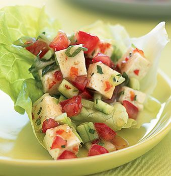 Vegetarian cooking: Spicy Lime and Herbed Tofu in Lettuce Cups