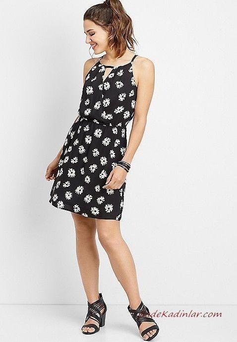 Yazlik Elbise Modelleri Siyah Kisa Askili Kolsuz Cicek Desenli Topuklu Ayakkabi The Dress Elbiseler Elbise
