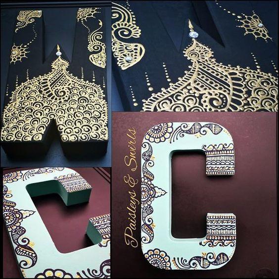 Henna art letters. Beautiful!