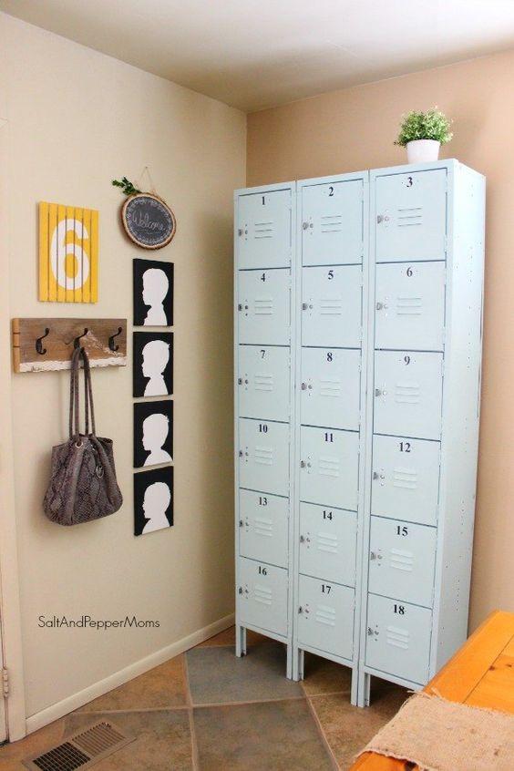 diy painted lockers, storage ideas