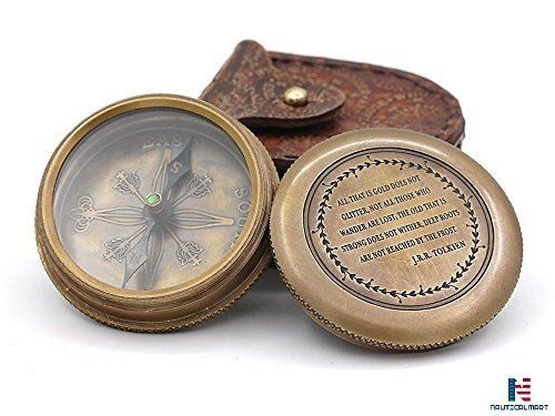 Antique Brass Pocket Compass Magnetic Nautical Camping Hiking with Leather Pouch