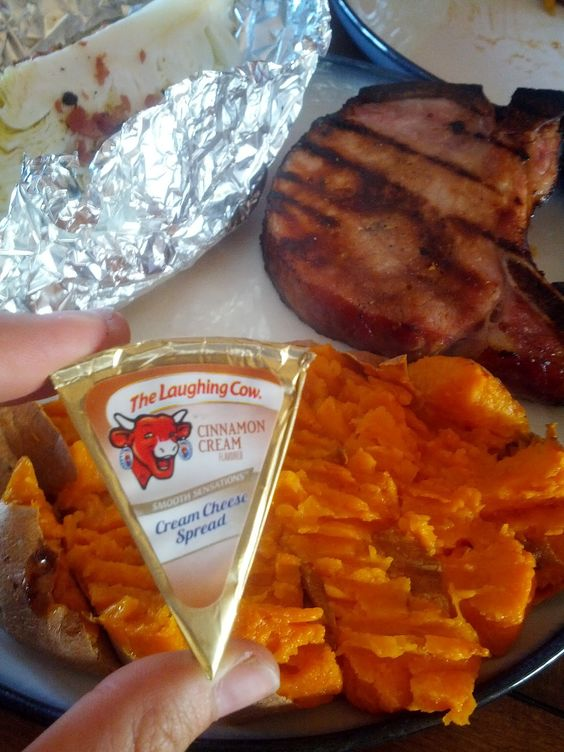 Cinnamon Cream Laughing Cow cheese on sweet potatoes instead of butter and brown sugar...Soo much better for you!
