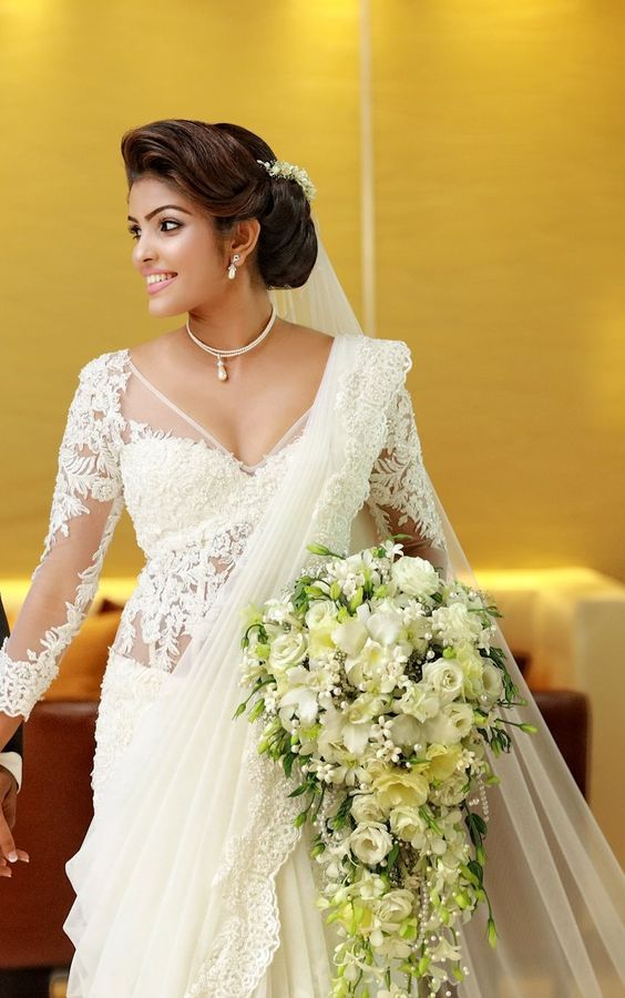 Pin By Tina Riedel On Hochzeitkleid White Saree Wedding Saree Wedding Christian Bridal Saree