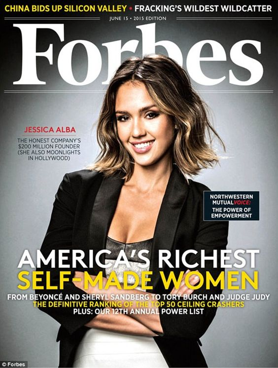 Richest women: Jessica Alba graced the cover of Forbes magazine in its issue titled Americ...