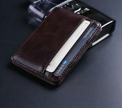 High quality leather magic wallets Fashion men money clips card