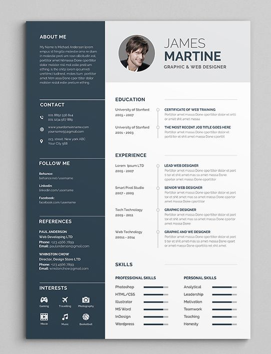 Professional Resume Cv Template With Super Modern And Professional Look Elegant Page Designs Are Easy To Use And Customiz Desain Resume Desain Cv Cv Kreatif