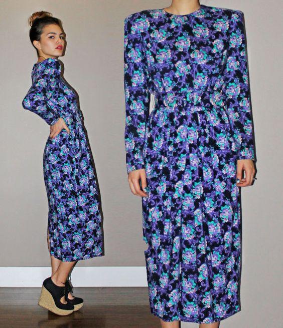 Vintage 80's KARIN STEVENS Black Purple Floral by XanderVintage, $40.00