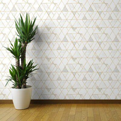 Ivy Bronx Clarkson Geometric Removable Peel And Stick Wallpaper Panel Size 108 L X 24 Geometric Removable Wallpaper Peel And Stick Wallpaper Wallpaper Panels