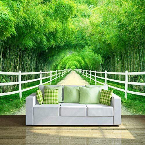 Benutzerdefinierte 3d Fototapete Grosses Wandbild Bambuszaun Trail Frische Schlafzimmer Wohnzimmer Sonne 3dfototapete Bambu In 2020 Tapeten Fototapete Wald Tapete