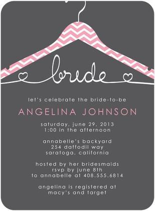 Pink Chevron Hanger Bridal Shower Invites from Wedding Paper Divas!