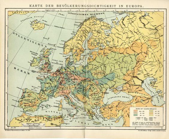 Europas Bevölkerung Karte C. 1898 antike von AntiquePrintBoutique