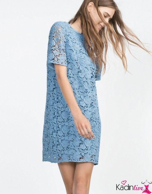 Zara Kadin Yarim Kollu Mavi Dantelli Mini Elbise Modelleri Kadinlive Com Mini Elbise Elbise Modelleri Moda Stilleri