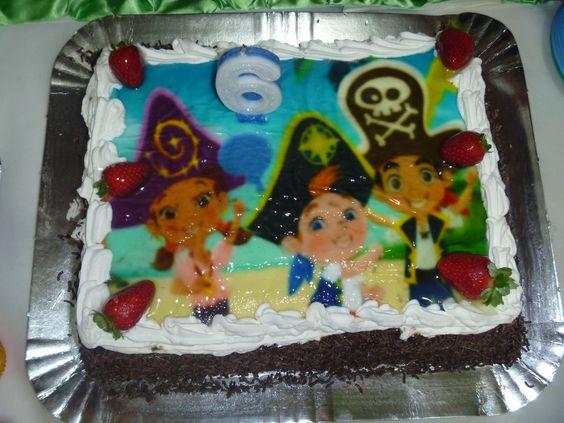 Bolo Jake Piratas na Terra do Nunca - 6 anos Pedro