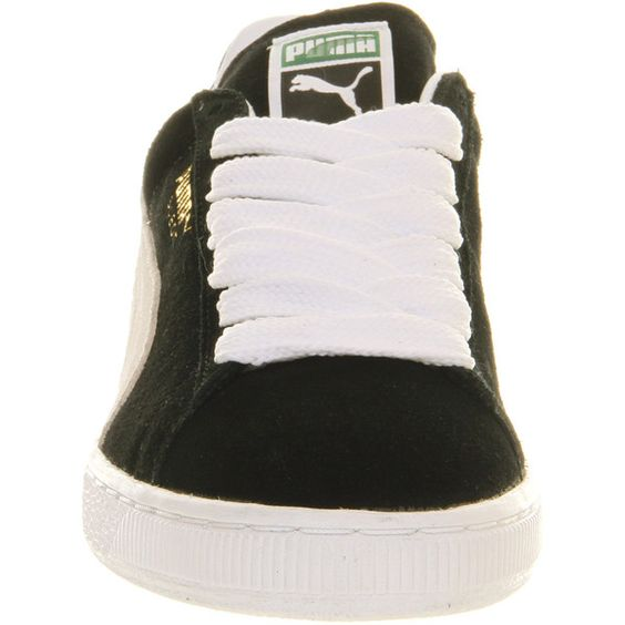 Puma Suede Classic (€64) ❤ liked on Polyvore featuring shoes, sneakers, black white, white and black shoes, low profile shoes, white black shoes, rubber sole shoes and suede leather shoes