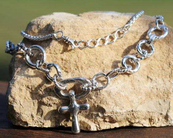Handmade Artisan Sterling Silver Cross Necklace by redlimedesign, $203.00
