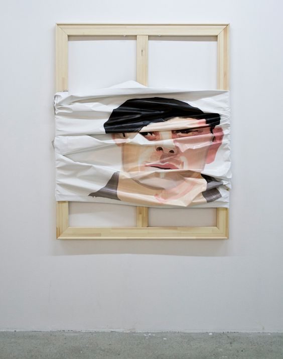 B. 1984, Syrian/Swedish artist Jwan Yosef received his BA in Fine Art from Konstfack University College of Arts in Stockholm and his MA in Fine Art from Central Saint Martins College of Art in London where he now resides. His recent series of paintings feature portraits and blank canvas on top of exposed frames, adding depth to the body of work as it seems unfinished.