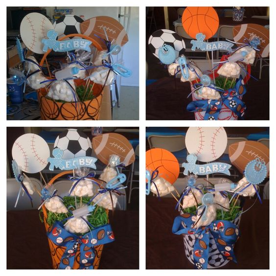 Sports theme babyshower centerpiece party ideas