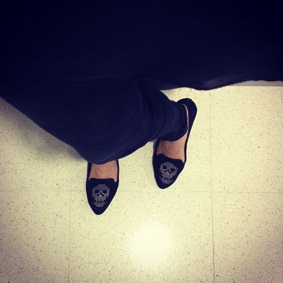 """""""Loving my new skull smoking flats gifted by @miashoesinc"""" #TheSoleReport"""