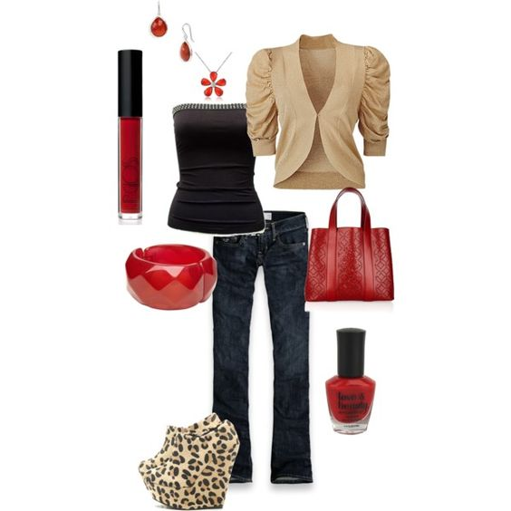 Date night!, created by tacciani  I started with the shoes on this outfit... killer! Love the khaki and black combo with red accents, hubby would love it too!