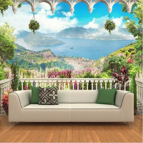 Custom Any Size 3d Wall Mural Wallpapers Modern Fashionterrace Landscape Scenery 3d Perspective Wall Stic 3d Wall Murals Wall Stickers Wallpaper Wall Wallpaper
